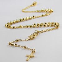 титан Ожерелье, Kресты, плакирован золотом, твист овал, 3mm, 9x95mm, длина:Приблизительно 20 дюймовый, 2пряди/сумка, продается сумка