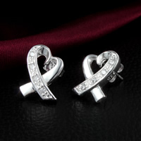 Cubic Zirconia Micro Pave Brass Earring, Heart, real silver plated, with 925 logo & micro pave cubic zirconia, nickel, lead & cadmium free, 13x10mm, 30Pairs/Lot, Sold By Lot