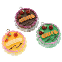 Resin Pendant, with Iron, Cake, solid color, more colors for choice, 28x33x12mm, Hole:Approx 2mm, 100PCs/Bag, Sold By Bag