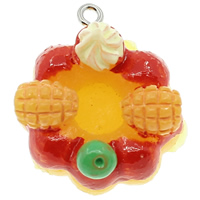 Resin Pendant, with Iron, Cake, solid color, multi-colored, 23x27x17mm, Hole:Approx 2mm, 100PCs/Bag, Sold By Bag