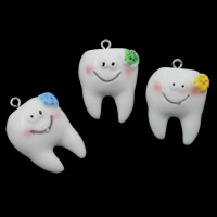 Resin Pendant, with Iron, Tooth, solid color, more colors for choice, 22x32x17mm, Hole:Approx 2mm, 100PCs/Bag, Sold By Bag