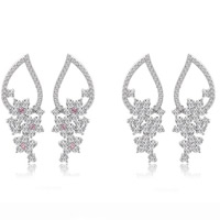 Cubic Zirconia Micro Pave Brass Earring, Flower, platinum plated, micro pave cubic zirconia, mixed colors, nickel, lead & cadmium free, 14.5x41.5mm, 2Pairs/Bag, Sold By Bag
