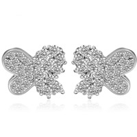 Cubic Zirconia Micro Pave Brass Earring, Butterfly, platinum plated, micro pave cubic zirconia, clear, nickel, lead & cadmium free, 14x11.5mm, Sold By Pair