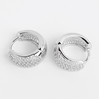 Cubic Zirconia Micro Pave Brass Earring, platinum plated, micro pave cubic zirconia, nickel, lead & cadmium free, 7x13.5mm, Sold By Pair