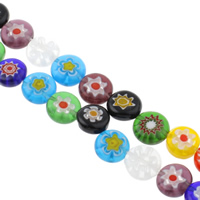 Millefiori Glass Beads, Flat Round, handmade, different size for choice, mixed colors, Hole:Approx 1mm, Length:Approx 14 Inch, Sold By Bag