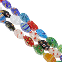 Millefiori Glass Beads, Twist, handmade, different size for choice, mixed colors, Hole:Approx 1mm, Length:Approx 14.5 Inch, Sold By Bag