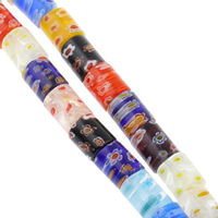 Millefiori Glass Beads, Column, handmade, different size for choice, mixed colors, Hole:Approx 1mm, Length:Approx 15.5 Inch, Sold By Bag