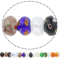 Millefiori Glass Beads, Rondelle, handmade, different size for choice, mixed colors, Hole:Approx 1mm, Length:Approx 13.5 Inch, Sold By Bag