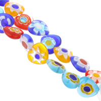 Millefiori Glass Beads, Heart, handmade, mixed colors, 14x14x5mm, Hole:Approx 1mm, Length:Approx 13.5 Inch, 10Strands/Bag, Sold By Bag
