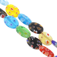 Millefiori Glass Beads, Flat Oval, handmade, different size for choice, mixed colors, Hole:Approx 1mm, Length:Approx 14.5 Inch, Sold By Bag