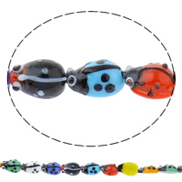 Animal Lampwork Beads, Ladybug, handmade, different size for choice, mixed colors, Hole:Approx 1mm, Sold Per Approx 10 Inch Strand