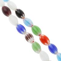 Стеклянные бусины, выполненные в технике миллефиори, Миллефиори, Овальная форма, Связанный вручную, разный размер для выбора, разноцветный, отверстие:Приблизительно 1mm, длина:Приблизительно 14.5 дюймовый, продается сумка