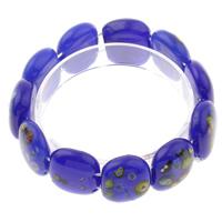 Миллефиори браслет, с эластичная нить, Прямоугольная форма, Связанный вручную, вышитый бисером браслет, голубой, 22x17x8mm, длина:Приблизительно 7.5 дюймовый, 10пряди/сумка, продается сумка