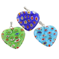 Millefiori Glass Pendant Jewelry, with Iron, Heart, handmade, mixed colors, 18x4mm, Hole:Approx 1x5mm, 10PCs/Bag, Sold By Bag