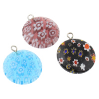 Millefiori Glass Pendant Jewelry, with Iron, Flat Round, handmade, mixed colors, 20x23x4mm, Hole:Approx 1mm, 10PCs/Bag, Sold By Bag