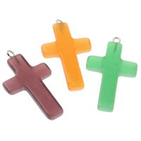 Cats Eye Pendants, with Iron, Cross, mixed colors, 20x36x4mm, Hole:Approx 1mm, 10PCs/Bag, Sold By Bag