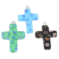 Millefiori Glass Pendant Jewelry, with Iron, Cross, handmade, mixed colors, 18x29x3mm, Hole:Approx 1.5mm, 10PCs/Bag, Sold By Bag