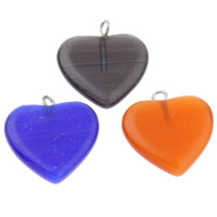 Cats Eye Pendants, with Iron, Heart, mixed colors, 19x21x4mm, Hole:Approx 1.5mm, 10PCs/Bag, Sold By Bag