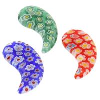 Подвески, выполненные в технике миллефиори, Миллефиори, Хорн, Связанный вручную, разноцветный, 14x23x4mm, отверстие:Приблизительно 1mm, 10ПК/сумка, продается сумка