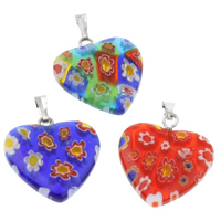 Millefiori Glass Pendant Jewelry, with Iron, Heart, handmade, mixed colors, 20x27x3mm, Hole:Approx 1x5mm, 10PCs/Bag, Sold By Bag