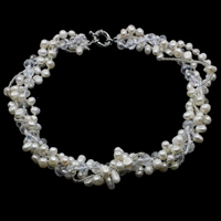 Freshwater Cultured Pearl Bracelet Freshwater Pearl with Crystal   Glass Seed Beads brass spring ring clasp Potato natural kumihimo   faceted white 6x8mm 8-10mm Sold Per Approx 14 Inch Strand