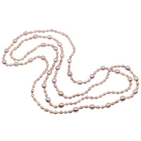 Natural Freshwater Pearl Long Necklace, Rice, purple, 5-6mm, 8-9mm, Sold Per Approx 57.5 Inch Strand