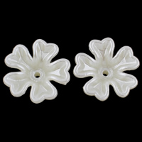 ABS Plastic Bead Cap, Flower, imitation pearl, white, 17x6mm, Hole:Approx 1mm, 50PCs/Bag, Sold By Bag