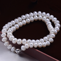 Natural Freshwater Pearl Necklace, brass box clasp, Flat Round, white, 7-8mm, Sold Per Approx 17 Inch Strand