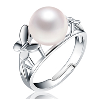 Freshwater Pearl Finger Ring, with 925 Sterling Silver, Flat Round, natural, white, 9mm, Inner Diameter:Approx undefinedmm, Size:6.5