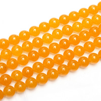 Yellow Calcedony Beads, Round, different size for choice, Hole:Approx 2mm, Length:Approx 15 Inch, Sold By Lot