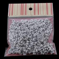 Aakkoset Akryylihelmet, Akryyli, Litteä pyöreä, sekoitettu malli & yksivärinen, 7x3mm, 100x170mm, Reikä:N. 1mm, N. 240PC/laukku, Myymät laukku