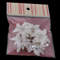 ABS Plastic Bead Cap with OPP Bag Flower imitation pearl white 46x56x12mm 100x170mm Hole:Approx 2mm 5PCs/Bag