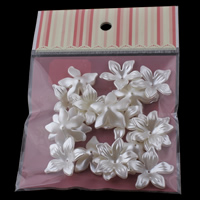 ABS Plastic Bead Cap, with OPP Bag, Flower, imitation pearl, white, 28x8mm, 100x170mm, Hole:Approx 1mm, 20PCs/Bag, Sold By Bag