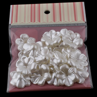 ABS Plastic Bead Cap Flower imitation pearl white 29x9mm Hole:Approx 1mm 20PCs/Bag