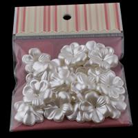 ABS-пластик колпачок, Форма цветка, Имитация жемчуга, белый, 29x9mm, отверстие:Приблизительно 1mm, 20ПК/сумка, продается сумка