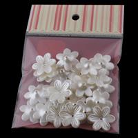 ABS-пластик колпачок, с OPP, Форма цветка, Имитация жемчуга, белый, 26x6mm, 100x170mm, отверстие:Приблизительно 1mm, 30ПК/сумка, продается сумка
