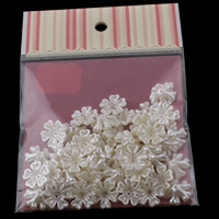 ABS Plastic Bead Cap, with OPP Bag, Flower, imitation pearl, white, 17x6mm, 100x170mm, Hole:Approx 1mm, 50PCs/Bag, Sold By Bag