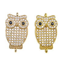Cubic Zirconia Micro Pave Brass Connector Owl plated micro pave cubic zirconia   1/1 loop nickel lead   cadmium free 13x22x3mm Hole:Approx 1mm Inner Diameter:Approx 6mm 10PCs/Lot