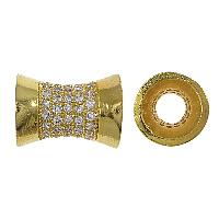 Zirkoon Micro Pave Brass European Kralen, Messing, Barbell, echt goud verguld, micro pave zirconia & zonder troll, nikkel, lood en cadmium vrij, 13x10mm, Gat:Ca 5mm, 10pC's/Lot, Verkocht door Lot