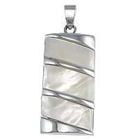 Natural White Shell Pendants, Brass, with White Shell, Rectangle, platinum color plated, nickel, lead & cadmium free, 18x38x4mm, Hole:Approx 5x7mm, 10PCs/Lot, Sold By Lot