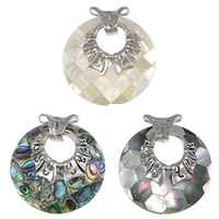 Shell Pendants, Brass, with Shell, Flat Round, platinum color plated, different materials for choice & mosaic, nickel, lead & cadmium free, 45x45x9mm, Hole:Approx 17x4mm, 5PCs/Lot, Sold By Lot