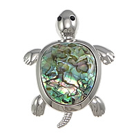 Hollow Brass Pendants, with White Shell & Abalone Shell, Turtle, platinum color plated, with rhinestone, nickel, lead & cadmium free, 46x56x11mm, Hole:Approx 4x7mm, 5PCs/Lot, Sold By Lot
