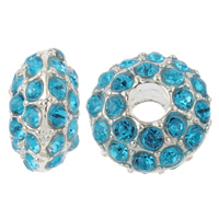 Zinc Alloy European Beads, Rondelle, without troll & with rhinestone, blue, nickel, lead & cadmium free, 14x8mm, Hole:Approx 4.5mm, 10PCs/Bag, Sold By Bag