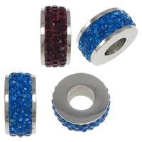 Stainless Steel Large Hole Bead, with Rhinestone Clay Pave, Rondelle, with 72 pcs rhinestone, more colors for choice, 7x15mm, Hole:Approx 6mm, 5PCs/Lot, Sold By Lot