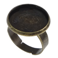 Brass Bezel Ring Base, Flat Round, antique bronze color plated, nickel, lead & cadmium free, 18mm, Inner Diameter:Approx 16mm, US Ring Size:7, 100PCs/Lot, Sold By Lot