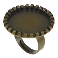 Brass Bezel Ring Base, Flat Round, antique bronze color plated, nickel, lead & cadmium free, 25mm, Inner Diameter:Approx 18mm, Size:8, 100PCs/Lot, Sold By Lot