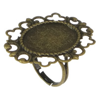 Brass Bezel Ring Base, Flower, antique bronze color plated, nickel, lead & cadmium free, 32mm, Hole:Approx 2mm, Inner Diameter:Approx 15x20mm, Size:7, 50PCs/Lot, Sold By Lot
