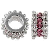 RVS European Beads, Roestvrij staal, Rondelle, zonder troll & met strass, roze, 6x10mm, Gat:Ca 5mm, Verkocht door PC