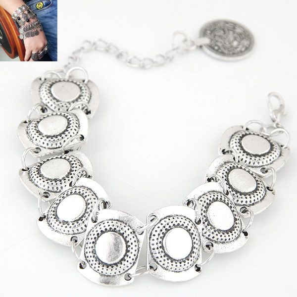 Zinc Alloy Bracelet with 5cm extender chain antique silver color plated lead   cadmium free 190mm Sold Per Approx 7.48 Inch Strand