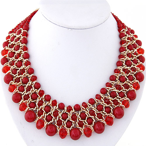 Crystal Zinc Alloy Necklace, with ABS Plastic Pearl & Crystal, Rondelle, gold color plated, graduated beads, red, lead & cadmium free, 380x36mm, Sold Per Approx 14.96 Inch Strand